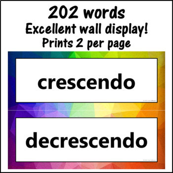 Music Word Wall {Music Room Décor} rainbow subtle