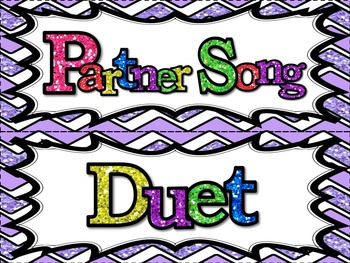 Music Word Wall -  Song Parts and Types Set in glittery lavender