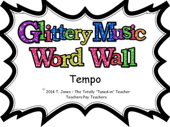 Music Word Wall -  Tempo Set in glittery lavender