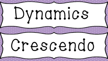 Music Word Wall-Tempo and Dynamics (Purple Background)