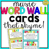 Music Word Wall Terms THAT RHYME! (Bright Music Bulletin Board Display)