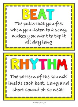 Elementary Music Word Wall Terms THAT RHYME! (Music Bulletin Board Display)