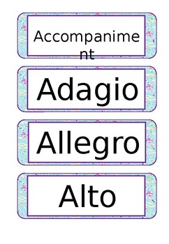 Music Word Wall Words - General