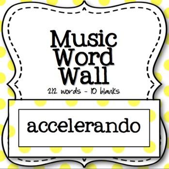 Music Word Wall (Yellow and White Polka Dot)