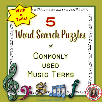 Music Word Search of Commonly used Terms: Music Puzzle: Music Quiz