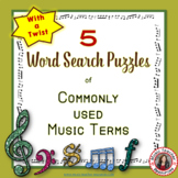 Music Word Search of Commonly used Terms: FIVE Puzzles