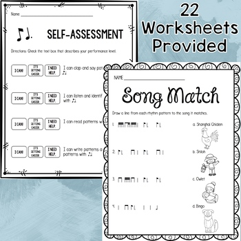 Music Worksheet Bundle: Ti Tom (Eighth Note / Dotted Quarter Note)