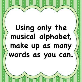 Musical Alphabet   ♪ ♫ ♪  ♫  Make up words Music Worksheet