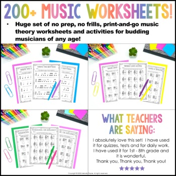 Music Worksheets {175 Print and Go, No Frills, No Prep Pages}