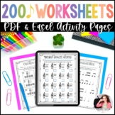 Music Worksheets {Over 200 Print and Go, No Frills, No Pre
