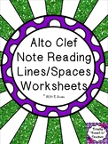 Music Worksheets: Alto Clef Note Reading Worksheets {Lines/Spaces}