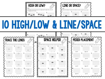 Music Worksheets- Alto/Tenor, Line/Space, High/Low: 30 Pages