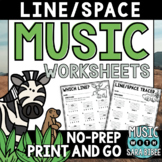 Music Worksheets - Line/Space {NO PREP}
