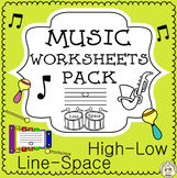 Lines and Spaces Music Worksheets   Print and Digital