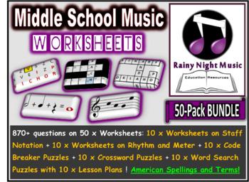 Middle School Music Worksheets Pack of 50 Bundle