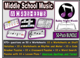 Middle School Music Worksheets Pack of 50 Bundle DISTANCE