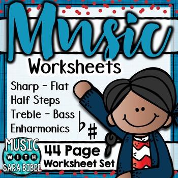 Music Worksheets- Sharp/Flat, Half Steps, Enharmonics