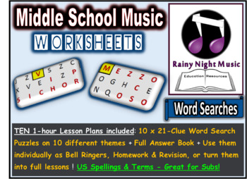 Music Worksheets Word Search Puzzles and Lesson Plans