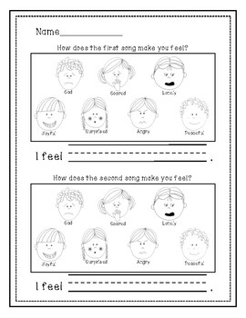 Music and Emotions Lesson Pack! Lesson Plan, visual aids, and assessments!