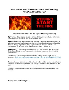 """Music and History """"We Didn't Start the Fire"""" Lyric Debate"""