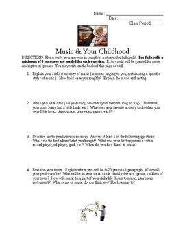 Music and Your Childhood Worksheet