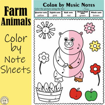 Musical Animals Color By Note And Symbol Pages Tpt