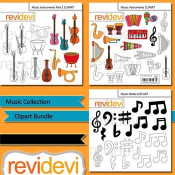 Music clip art: Music collection clipart bundle (3 packs)