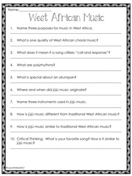 Music from West Africa - Reading Passage and Questions - Great for Subs!