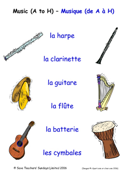 Music in French Matching Activities