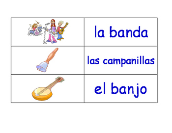 Music in Spanish Flash Cards