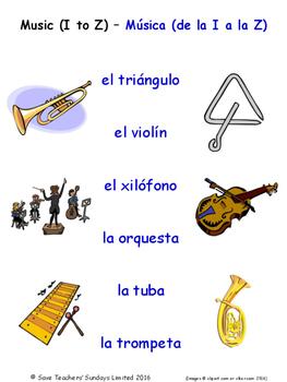 Music in Spanish Matching Activities
