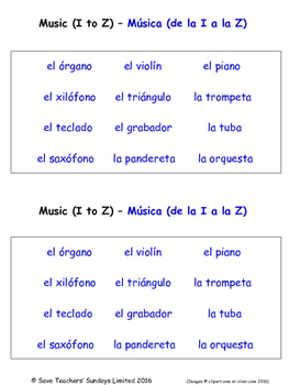Music in Spanish Worksheets