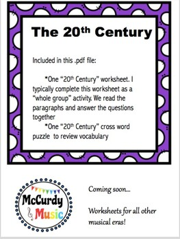 Music in the 20th Century: a Lesson for Middle School General Music!
