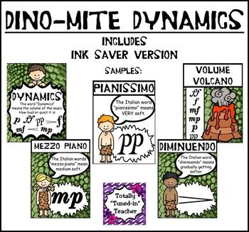 Music Classroom Resource Decor: DINO-mite Dynamics Posters
