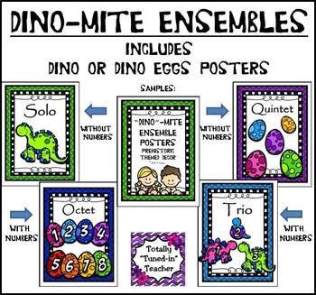 Music classroom resource decor: DINO-mite Ensemble Posters