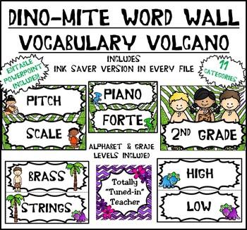 Music Word Wall:  Music is DINO-mite - Vocabulary Volcano