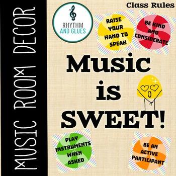 Music is SWEET! Music Room Theme - Classroom Procedures, Rhythm and Glues