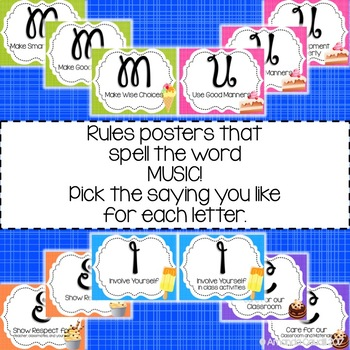 Music is Sweet! Classroom Rules Posters