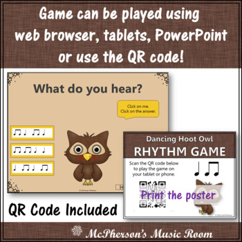 Music Game: Quarter Eighth Note Interactive Rhythm Game & Assessment {Hoot}