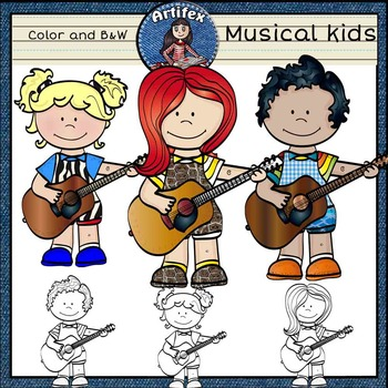 Music kids free! Color and B&W