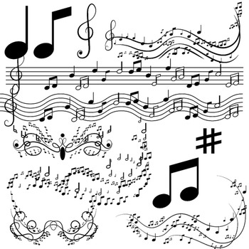 Music notes clipart, musical clip art
