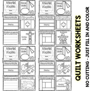 Music of Canada Quilt & Worksheet (World Music)
