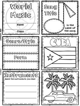 Music of Cuba Quilt & Worksheet (World Music)