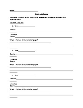 Music of Poetry Worksheet with Rubric