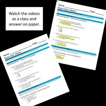 No Prep - Music or Choir Sub Plan - High School or Middle School - Self Grading
