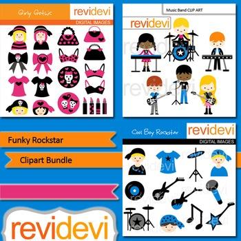 Music rockstar clip art: Funky rockstar clipart bundle (3 packs)