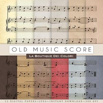 Music sheet Digital Paper, scrapbook backgrounds
