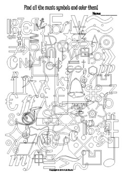 Music symbols coloring page with answers