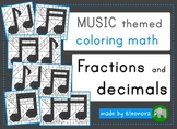 Music themed coloring math - fractions and decimals - different levels
