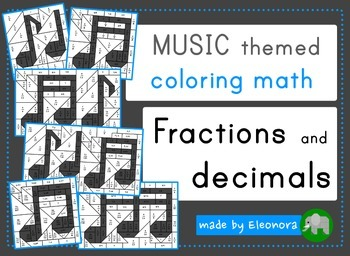 Music themed coloring math - fractions and decimals - diff